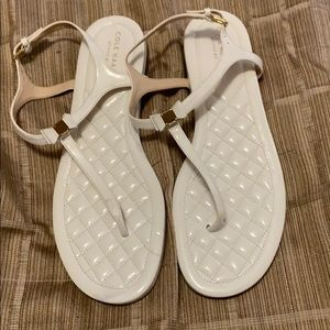 Cole Haan White Patent Leather Grand flip flops